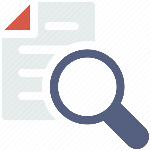 file scanning, magnifier, page, search file, search page icon icon