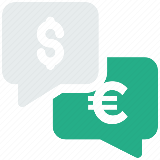 chat bubble, conversation, dollar, euro, money, speech bubble, talking icon icon