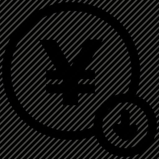 coin, down arrow, yen icon icon