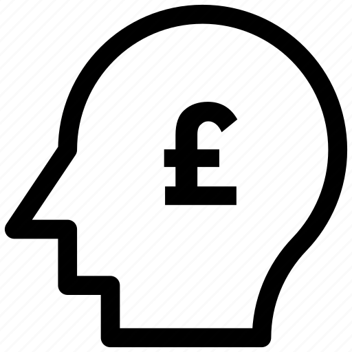 analytic, brain, business mind, human head icon, pound icon