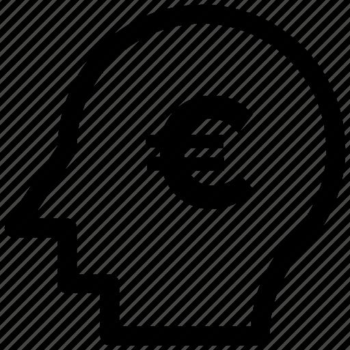 analytic, brain, business mind, euro, human head icon icon