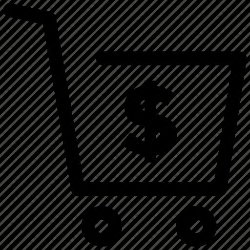 cart, dollar, shopping, sign icon icon