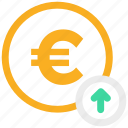 arrow up, euro, euro coin icon