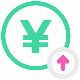 arrow up, yen, yen coin icon