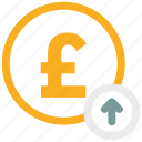 arrow up, pound, pound coin icon