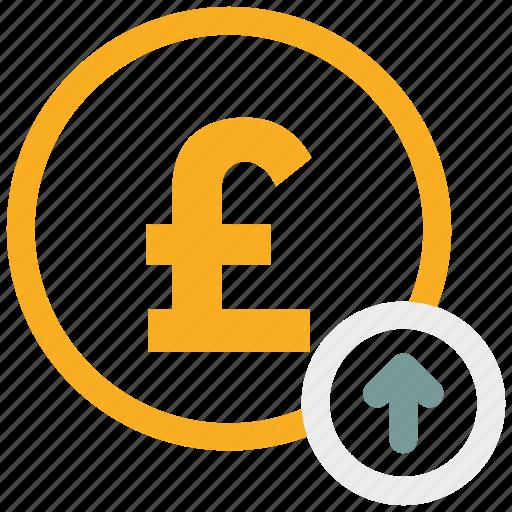 arrow up, pound, pound coin icon