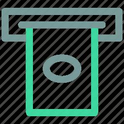 atm, atm machine, cash receipt, receipt icon icon