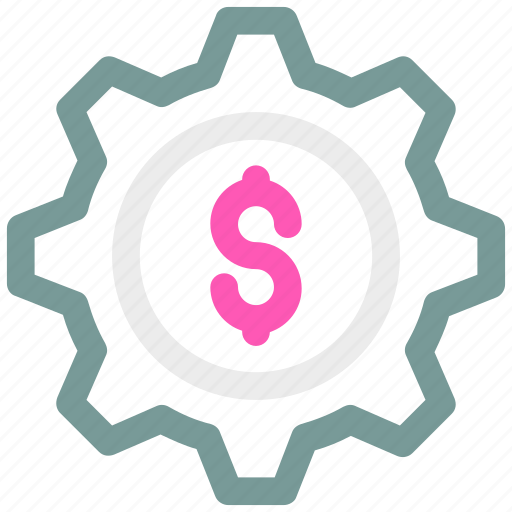 business, cogwheel, dollar with cog, e commerce, gear, gearwheel icon icon