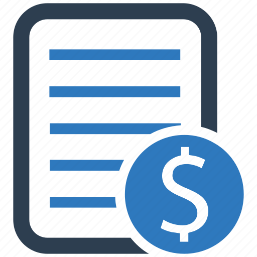 bill, business document, finance, financial statement, invoice icon
