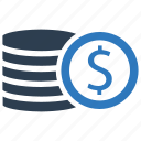 coins, currency, financial, money, stack icon