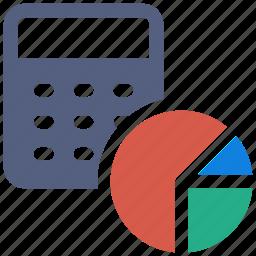 calculation, calculator, pie chart, pie graph, statistics calculator icon icon