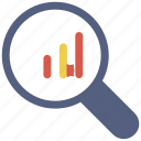 analytics, chart, magnifier, statistic icon icon