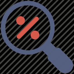 finance, find, percent, search icon