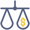 dollar, law, money, scale, scale icon