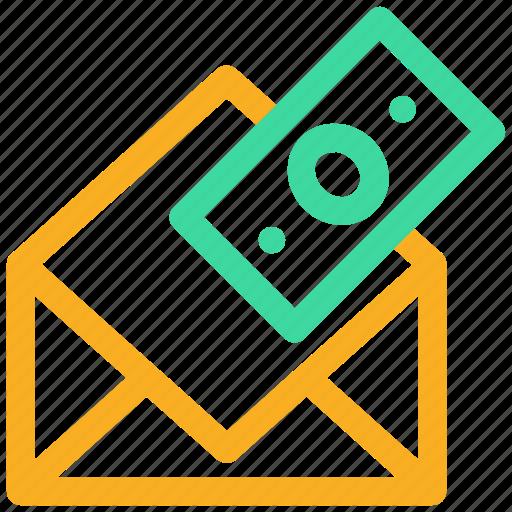 bill, bribe, donation, envelope, mail, money, tax icon icon