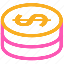 bank, banking, business, cash, cent, coin, coins, currency, dollar, ecommerce, finance, financial, money, payment, price, shopping, stack icon