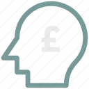 analytic, brain, business mind, human head icon, pound icon