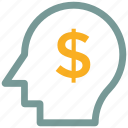 analytic, brain, business mind, dollar, human head icon icon