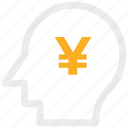 analytic, brain, business mind, human head icon, yen icon