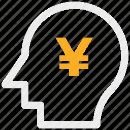 analytic, brain, business mind, human head icon, yen icon