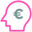 analytic, brain, business mind, euro, human head icon icon