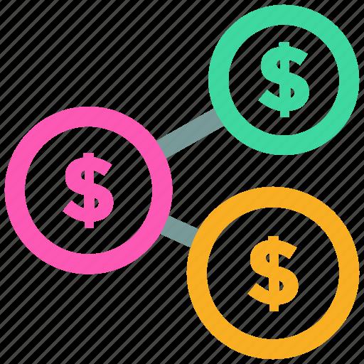 dollar, finance, link, money, share icon icon
