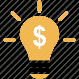 brilliant, finance, idea, lightbulb, money, online icon
