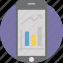 analysis, analytics, bar, diagram, growth, mobile, statistics icon
