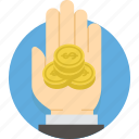 cash, coin, dollar, finance, gold, hand, money icon