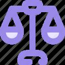 balance, equal, justice, libra, scales icon