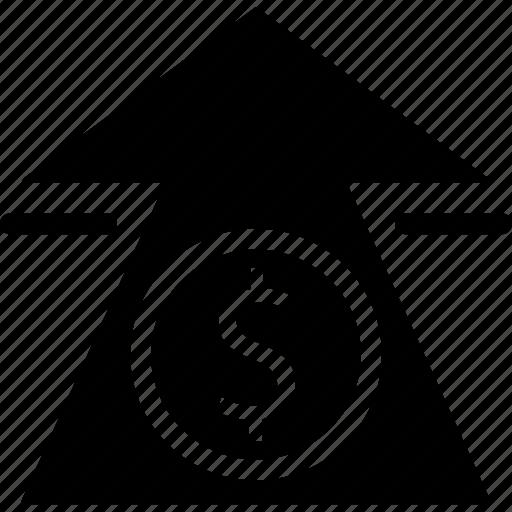 arrow, dollar sign, dollars, finance, financial, money, path icon