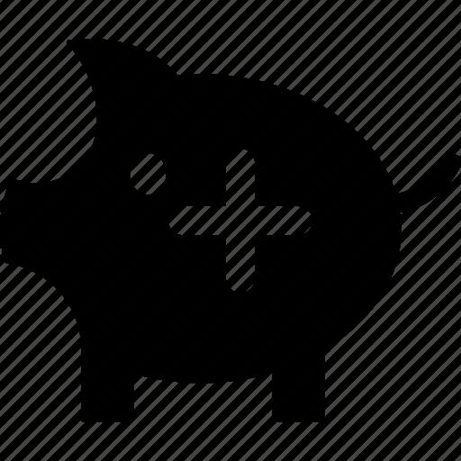 deposit money, money add, money box, money in, penny bank, piggy bank, savings icon