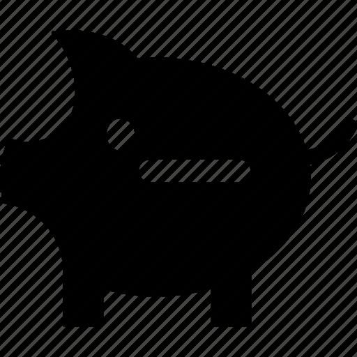 minus money, money box, penny bank, piggy bank, remove money, savings, withdraw money icon