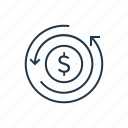 chargeback, dollar, finance, money icon