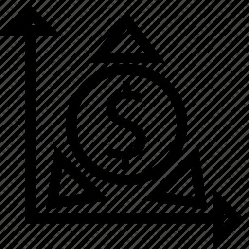 analysis, arrows, dollars, finance, financial, money icon