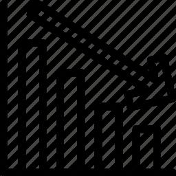 chart, decrease, decreasing, graph, graphical representation, regress, statistics icon
