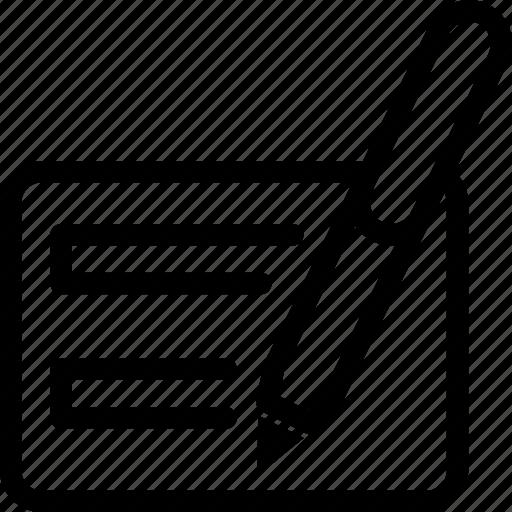 ballpoint, card, diary, pen, writing icon