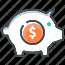 bank building, deposit, piggy bank, savings icon