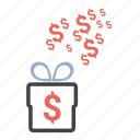 dollar, free, gift, money, present icon