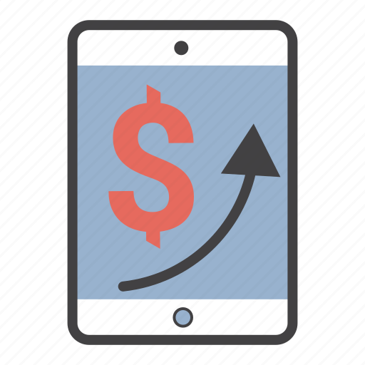arrow, dollar, ipad, sales, tablet, up icon