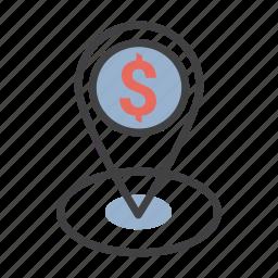 dollar, gps, location, money, pin icon