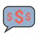 communication, dollar, messages, money icon