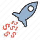 dollar, launch, money, rocket icon