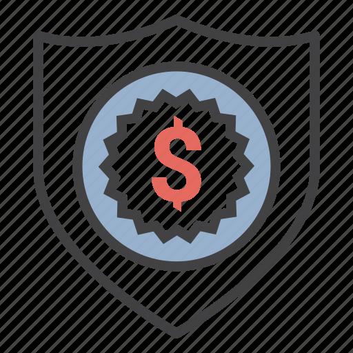 dollar, money, ribon, security, shield icon