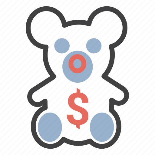 bear, children, dollar, money, teddy, toy icon