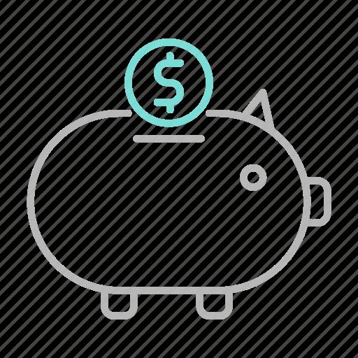 business, finance, financial, piggy bank, savings icon
