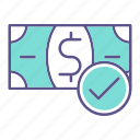 approved, business, financial, money icon