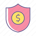 business, financial, protection, shield icon
