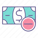 business, financial, minus, money icon