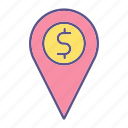 business, financial, location, money, pin icon